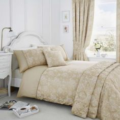 Jasmine Floral Cotton Rich Duvet Cover Set - Champagne Cream