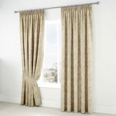 Jasmine Floral Fully Lined Tape Top Curtains - Champagne Cream