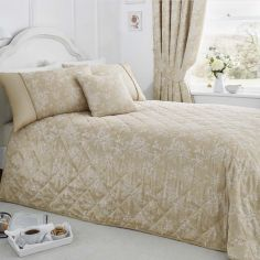 Jasmine Floral Quilted Bedspread - Champagne Cream