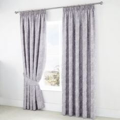 Jasmine Floral Fully Lined Tape Top Curtains - Lavender Purple