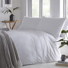 Tassel Trim Duvet Cover Set - White