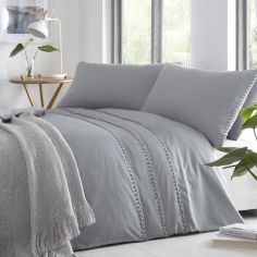 Tassel Trim Duvet Cover Set - Grey