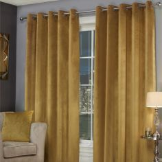 Plush Velvet Fully Lined Ring Top Eyelet Curtains - Ochre Yellow