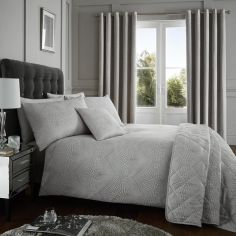 Portobello Geometric Weave Duvet Cover Set - Silver Grey