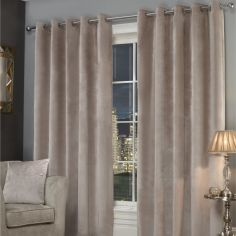 Plush Velvet Fully Lined Ring Top Eyelet Curtains - Stone Natural