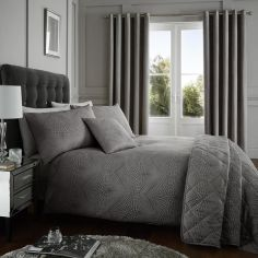 Portobello Geometric Weave Duvet Cover Set - Slate Grey