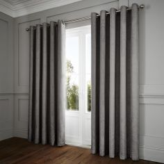 Portobello Geometric Weave Fully Lined Eyelet Curtains - Slate Grey