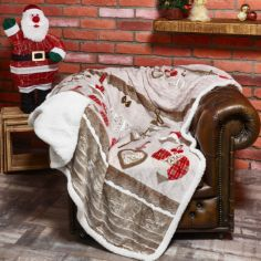 Festive Decorations Christmas Sherpa Blanket Fleece Throw