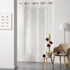 Lyria Feather Jacquard Eyelet Voile Curtain Panel - Cream