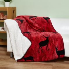 Stags Christmas Sherpa Blanket Fleece Throw - Red