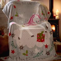 Wishing For Unicorns Christmas Supersoft Blanket Fleece Throw