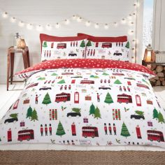 Christmas Collage Duvet Cover Set - Red Multi