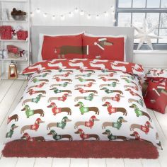 Christmas Sausage Dog Duvet Cover Set - Multi