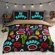 Be Happy Neon Reversible Duvet Cover Set - Multi