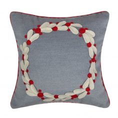 Christmas Garland Filled Cushion - Grey Red