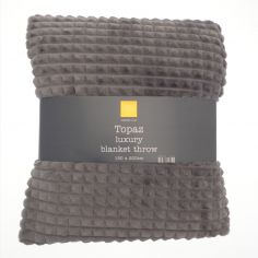 Topaz Soft Blanket Throw - Charcoal Grey