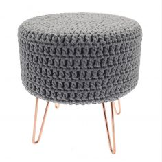 Bergen Knitted Stool with Copper Legs - Grey