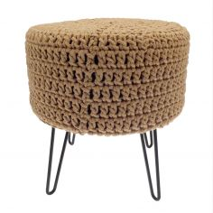 Bergen Knitted Stool with Black Legs - Stone