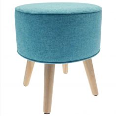 Oslo Danish Stool with Wood Legs - Blue