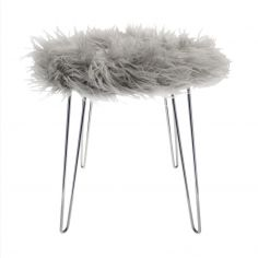Narvik Fur Stool with Silver Legs - Grey