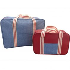 Denim Stripe Cooler Bag Two Pack Set - Blue