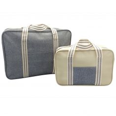 Striped Cooler Bag Two Pack Set - Grey