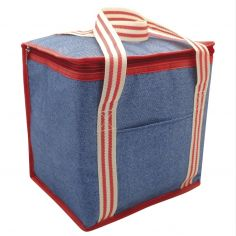 Denim Stripe Cooler Bag - Blue