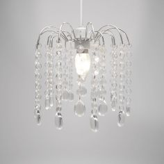 Droplet Gem Chandelier Silver Frame and Clear Droplets