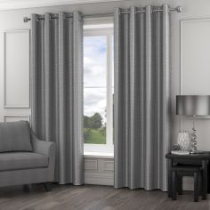 Madison Wave Fully Lined Ring Top Curtains - Silver Grey