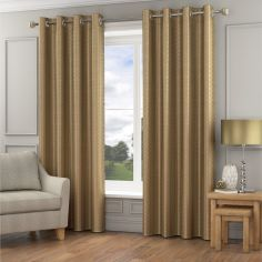 Madison Wave Fully Lined Ring Top Curtains - Gold
