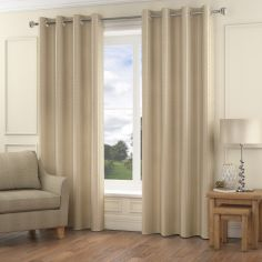 Madison Wave Fully Lined Ring Top Curtains - Natural