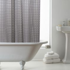 3D Geometric Pattern Shower Curtain - Smoke Grey