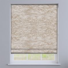 Crushed Velvet Ivory Cream Roman Blind