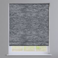 Crushed Velvet Steel Silver Grey Roman Blind