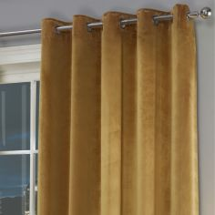 Plush Velvet Fully Lined Ring Top Door Curtain - Ochre Yellow