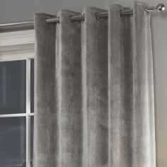 Plush Velvet Fully Lined Ring Top Door Curtain - Silver Grey