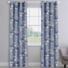 Bergen Blue Modern Floral Made To Measure Curtains