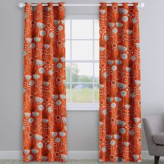 Bergen Orange Modern Floral Made To Measure Curtains