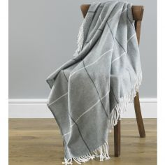Mirano Check Stripe Acrylic Throw - Grey