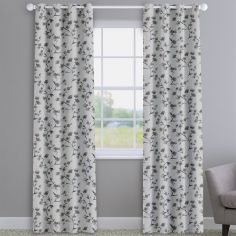 Como Blossom Grey Floral Made To Measure Curtains
