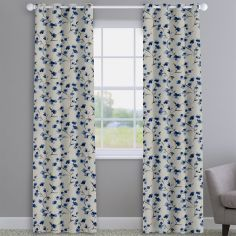 Como Blossom Indigo Blue Floral Made To Measure Curtains