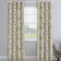 Como Blossom Ochre Yellow Floral Made To Measure Curtains