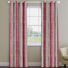Garda Striped Cherry Red Made To Measure Curtains
