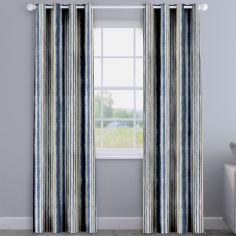 Garda Striped Indigo Blue Made To Measure Curtains