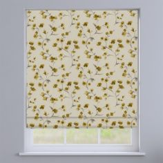 Como Blossom Ochre Yellow Floral Roman Blind