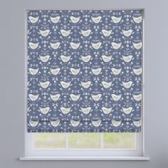 Narvik Blue Scandinavian Birds Roman Blind