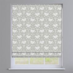 Narvik Burnt Grey Scandinavian Birds Roman Blind