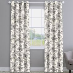 Aquataine Charcoal Grey Vintage Floral  Made To Measure Curtains