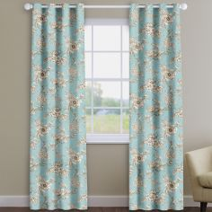 Aquataine Eau-de-nil Blue Vintage Floral Made To Measure Curtains