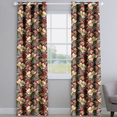 Decorama Aquataine Rouge Floral Made To Measure Curtains